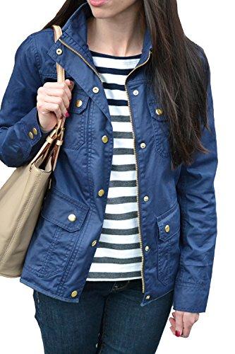 Merokeety Women's Spring Slim Military Jacket Downtown Field Utility Anorak Zip Up Coat