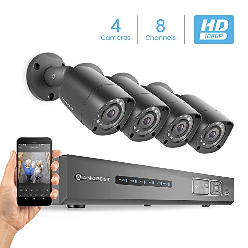 Amcrest Full-HD 1080P 8CH Video Security System w/ Four 2.0 MP (1920TVL) Outdoor IP67 Bullet Cameras, 66ft Night Vision, Hard Drive Not Included, (AMDV10818-4B-B)