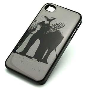 BLACK Snap On Hard Case iPhone 6 plus 5.5 Plastic Skin Cover - GREY SCALE ELEPHANT africa ganesh ganesha black white