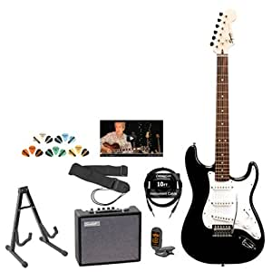 fender starcaster electric guitar with amp strap stand tuner cable pick. Black Bedroom Furniture Sets. Home Design Ideas