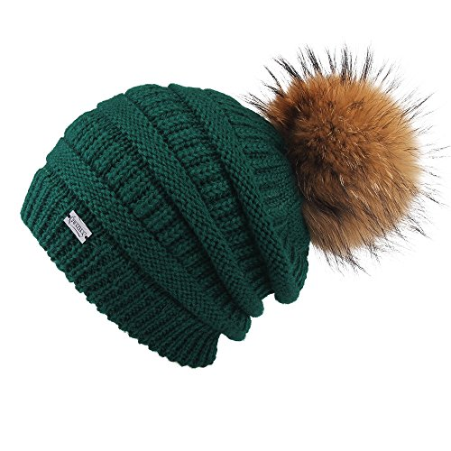 FURTALK Winter Fur Pom Pom Hat - Warm Knit Slouchy Beanie Hats for Women Chunky Soft Stretch Cable Caps Original (one Size, (Green Knit Beanie Cap Hat)