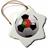 3dRose orn_157023_1 Soccer Ball with The National Flag of Portugal on it Portuguese Porcelain Snowflake Ornament, 3-Inch