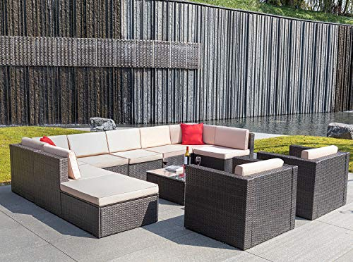 Flamaker 11 Pieces Wicker Sectional Furniture Set Patio Furniture Set Cushioned Sectional Sofa All-Weather Outdoor Rattan Sofa Set with Cushions and Coffee Table (11 Pieces) ()