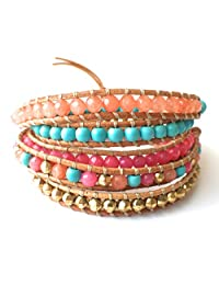 M&B Blue and Coral Multi Layer Beaded Women's Wrap Leather Bracelet