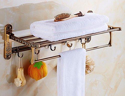 GGHYYO Towel shelf shower room kitchen Shelf Retro Holder Aluminum Carved Flowers 60CM