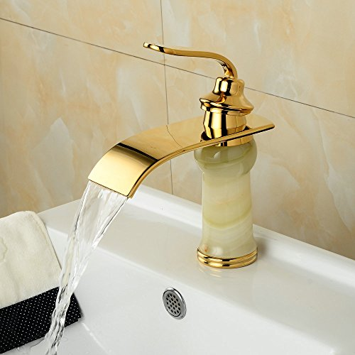 Hiendure Contemporary Single Handle One Hole Waterfall Bathroom Faucet Jade Stone Bowlder (Jade Waterfall)