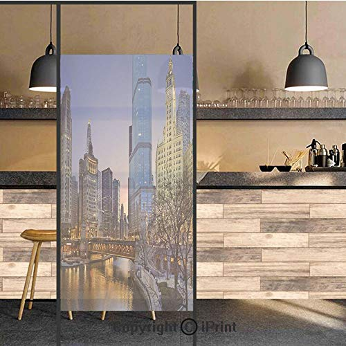 3D Decorative Privacy Window Films,Usa Chicago Cityscape with Rivers Bridge and Skyscrapers Cosmopolitan City Image,No-Glue Self Static Cling Glass film for Home Bedroom Bathroom Kitchen Office 17.5x7 ()