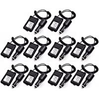 10pcs ABBREE 12-36V Input Car Charger Battery Eliminator Alternative Power for Baofeng DM-5R UV-5R BF-F8HP UV-5RTP etc. Two Way Radio (10)