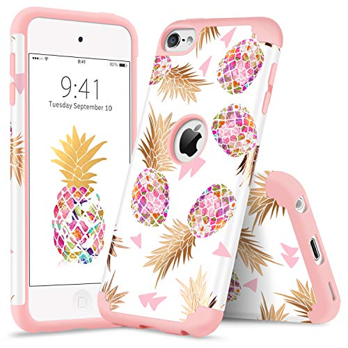 YINLAI iPod 5 Case, iPod Touch 6 Case Shockproof 2 in 1 Hybrid Slim Soft Silicone Rubber Bumper Hard PC Cover Cute Floral Pineapple Pattern Protective Cases for iPod Touch 5/6th Generation Rose Gold ()