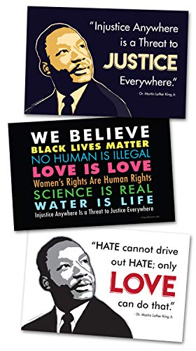 3 Posters or Protest Signs - We Believe, MLK Love, MLK Justice Card Stock Prints - Buy 1 Get 2 Free (3 Total) - 18