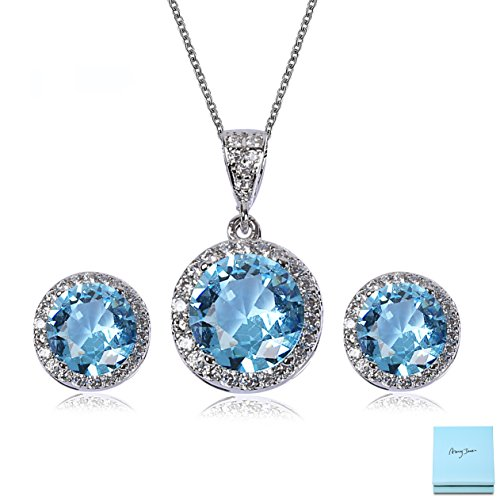 Aqua Blue Rhinestone (AMYJANE Crystal Jewelry Set for Women - Sterling Silver Round Aquamarine Cubic Zirconia Bridal Pendant Necklace Earrings Set for Wedding Bride Bridesmaids Birthstone Jewelry Sets)