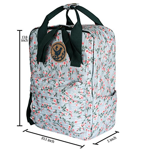Micoop Waterproof Floral Backpack Handbag Travel School Bag for Girls and Women (Light Green Pink Floral L) by Micoop (Image #1)