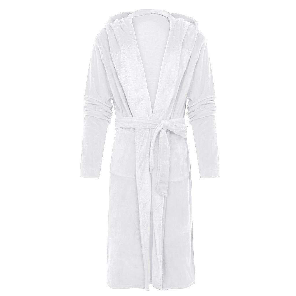 LINYIOU77 Mens Plus Size Plush Lengthened Hooded Bathrobe Fleece Robe Shawl Warm and Soft Home Clothes Long Sleeve Robe