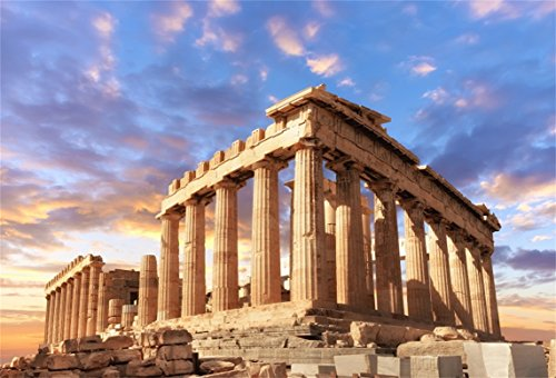 AOFOTO 7x5ft Acropolis of Athens Backdrop Parthenon Temple Photography Background Ancient Column Stone Pillar Greek Trip Photo Studio Props Artistic Portrait Greece History Building Culture Video Drop