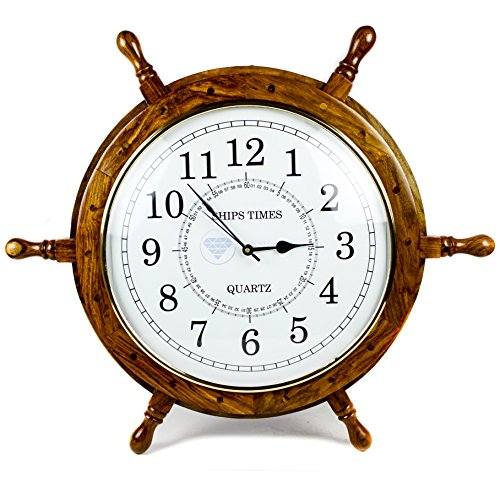 Nagina International Nautical Moon Light Blue Large Wooden Ship Wheel with Ship s Time Captain s Clock – Pirate Home Decorative Clock 24 Inches, White Dial Face