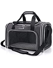 Hafmall Soft-Sided Carriers for Puppy & Medium Cat, Airline Approved Portable Pet Carrier Bag, Foldable Travel Carrier for Small Dogs and Cats
