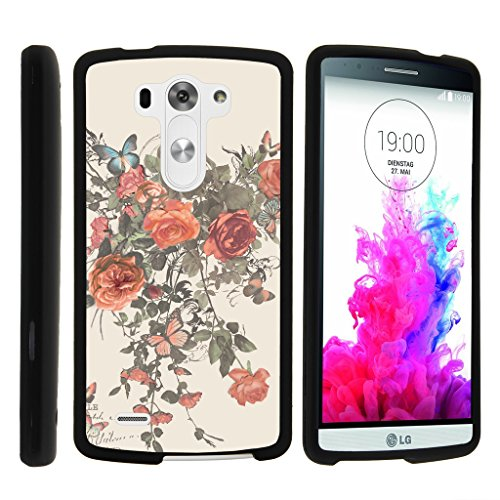 LG G3 Case | D850 | D855 | D851 | VS985 | LS990 [Slim Duo] Ultra Slim Matte Hard 2 Piece Cover Compact Cool Design on Black by TurtleArmor - Elegant Roses