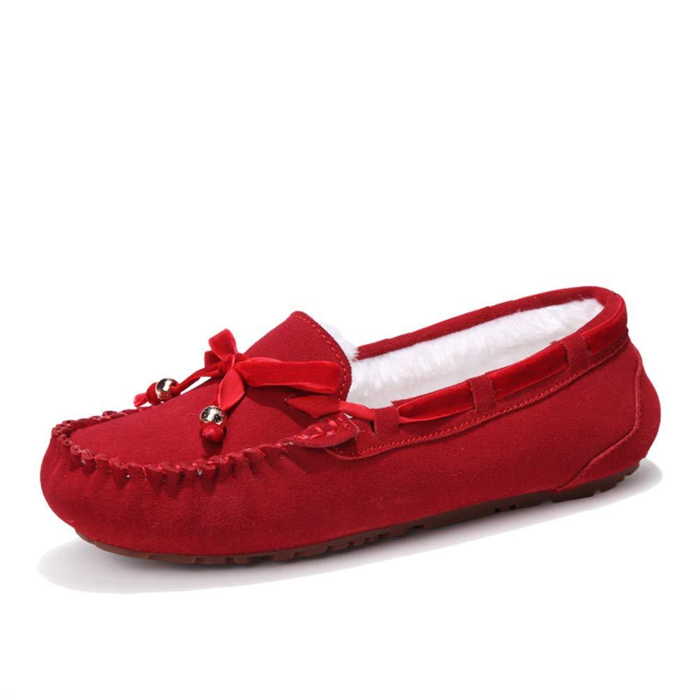 Sunny&Baby Penny Driving Loafer Gamuza Cuero Genuino Señora Casual Mocasines Barco Zapatos de Vestir Antideslizante (Color : Warm-Red, tamaño : 37 EU): ...