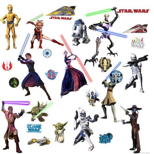 Star Wars Movie - The Clone Wars Wall Decals Stickers - C-3PO, Yoda, Obi-Wan, Mace Windu, Anakin Skywalker, Ahsoka Tano, R2D2, Clone Trooper Soldier, EP VII Storm Trooper, General Grievous ()