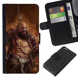 Apple iPhone 5C , la tarjeta de Crédito Slots PU Funda de cuero Monedero caso cubierta de piel (Barbarian Art)
