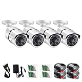 ZOSI 4 Pack HD-TVI 1280TVL(720P) Weatherproof Security Bullet Cameras Kit,Night Vision Up to 100FT(30M)