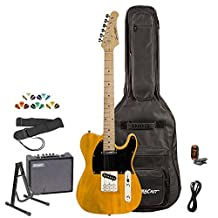 Sawtooth ES Series Electric Guitar Kit with Sawtooth 10 Watt Amp & ChromaCast Accessories, Butterscotch w/ Black Pickguard
