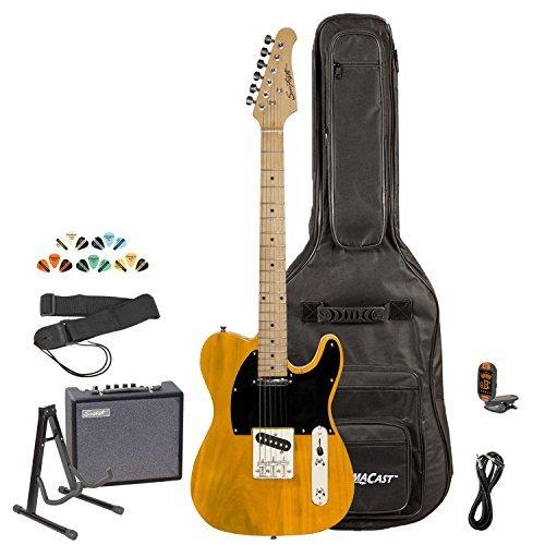 - Sawtooth ST-ET-BSB-KIT-3 Electric Guitar, Butterscotch with Black Pickguard