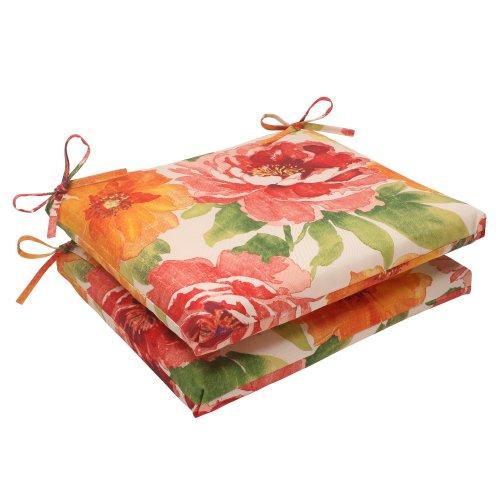 Pillow Perfect Indoor Outdoor Primro Squared Seat Cushion, Orange, Set of 2
