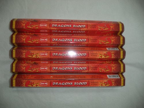 Red Dragon Incense - HEM Dragon's Blood 100 Incense Sticks (5 X 20 Stick Packs)