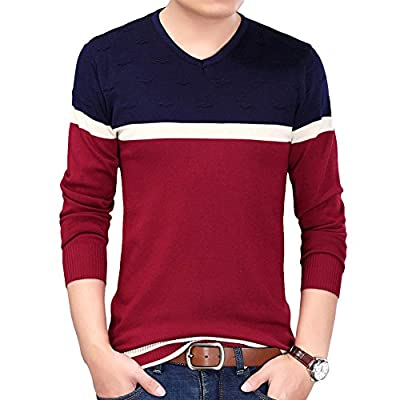 S.FLAVOR Men's Casual Slim Fitted V-Neck Knitted Pullover Sweater hot sale