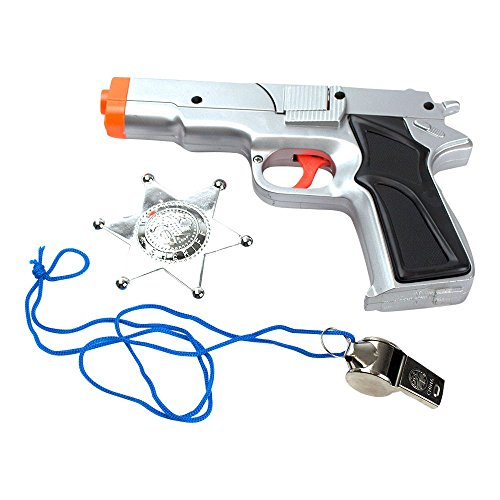 3-Piece Toy 45 Silver Pistol Bundle Includes 1 Police Style Silver Revolver with Black Handle Cap Gun with 1 Whistle and 1 Chrome Finished Badge for Dress-Up-Costume Accessories by Imprints Plus (G7)
