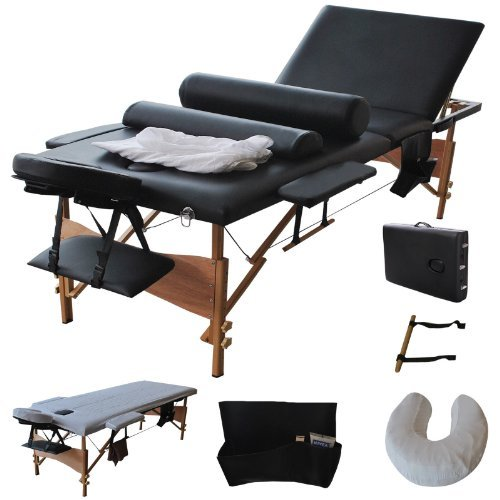"Goplus New 84""l 3 Fold Massage Table Portable Facial Bed W/sheet+cradle Cover+2 Bolster"