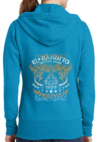 Womens El Bandito Full Zip Hoodie, Neon Blue, 2X