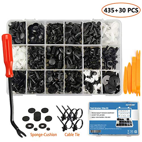 EZYKOO 465 Pcs Car Retainer Clips & Plastic Fasteners Kit - 19 Most Popular Sizes Auto Push Pin Rivets Set -Door Trim Panel Clips Compatible with GM Ford Toyota Honda Chrysler (Inner Fender Well Clips)