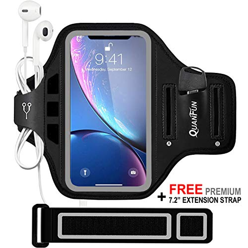 QUANFUN Compatible iPhone Xs X 8/7/6/S Plus Sports Armband, Fitness Running Workout Gym Jogging Case Holder Arm Band Strap Compatible Galaxy S8 S7 Plus Edge Note8, Fits 5.5