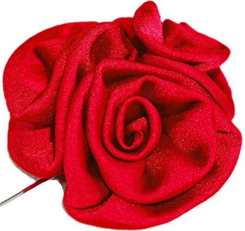 Flairs New York Gentleman's Essentials Premium Handmade Flower Lapel Pin Boutonniere (Pack of 1 Pin, Candy Red [Bouquet])