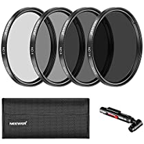 Neewer 52MM Neutral Density ND2 ND4 ND8 ND16 Filter and Accessory Kit for Nikon D3300 D3100 D3000 D5300 D5200 D5100 D5000 D7000 D7100 DSLRs, Lens Pen, Filter Pouch, Microfiber Cleaning Cloth Included