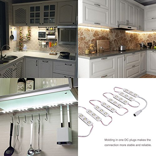 Kimbar LED Under Cabinet Dimmable Lighting Kit Closet Kitchen Counter Vanity Mirror DIY Lights Kit for Makeup Dressing Table Feeding Night Baby Bedside Lamp 36W 2400LM-60leds White 10f (Warm White) 4.5' High Jewelry Box