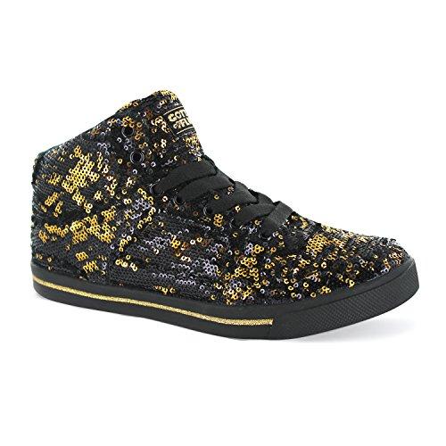Gotta Flurt Hop Hop II Lace Up 3/4 Top High Top Sneaker, Gold/Black, 9.5 by Gotta Flurt
