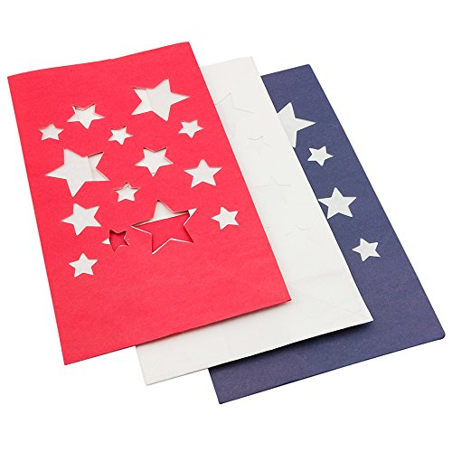 Quasimoon PaperLanternStore.com 4th of July Red, White, Blue Star Paper Luminary Bags Path Lighting (3-Pack)