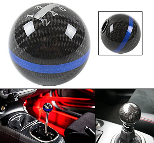 JDM ROUND BALL TYPE STYLE REAL CARBON FIBER 6 SPEED MANUAL SHIFT SHIFTER GEAR KNOB SELECTOR W/ COLOR STRIP (2' Gear Shift Knob)