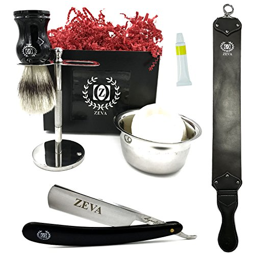 Mens Straight Razor Set 7 pcs with Dovo Paste Leather Strop Strap for Straight Razor Pure Badger Shaving Brush Drip Stand Bowl with Soap Complete Shaving kit with gift box for men