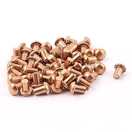 eDealMax 50 Pcs 5/32 x 1/4 de cabeza redonda de cobre sólido