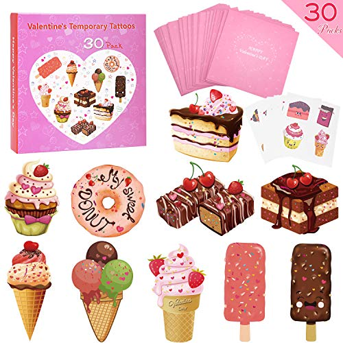 Tattoo Valentines Cards (SUKKI Valentines Day Cards for Kids 30 Sets with Envelopes and Temporary Tattoos - Perfect Greeting Exchange Cards for Classmates Boys Girls Party)