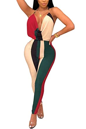 f3b8f57ee31 Dreamparis Women s Sexy Color Block Halter Neck Backless Bodycon Jumpsuits  Rompers Long Pants Clubwear Small multicolored1