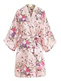 EPLAZA Women Floral Satin Robe Bridal Dressing Gown Wedding Bride Bridesmaid Kimono Sleepwear (Pink)