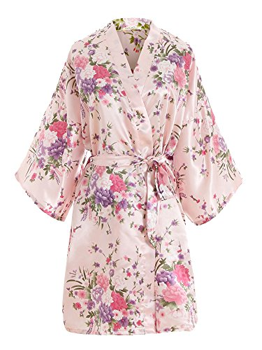 EPLAZA Women Floral Satin Robe Bridal Dressing Gown Wedding Bride Bridesmaid Kimono Sleepwear (Pink) -
