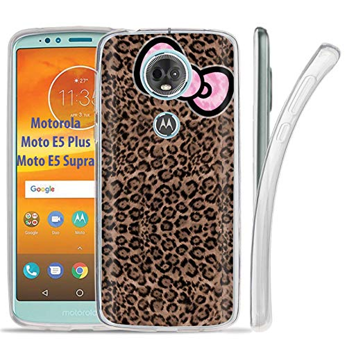 [NakedShield] Motorola Moto E5 Plus /E5 Supra/E Plus 5th Gen [Clear] Ultra Slim TPU Phone Cover Case [Leopard Ribbon Print]