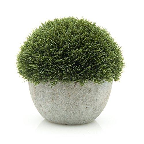 Velener Velener Mini Artificial Fake Green Plant in Grey Pot for Home Decor (Pine Ball) price tips cheap