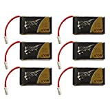 Tattu LiPo Battery Pack 600mAh 3.7V 25C 1S with Molex Plug (6pcs) for Syma X5C X5SW X5C-1 X5SC X5SC-1 CX-30W CX-31 M68R Drone Quadcopter- Packaging May Vary